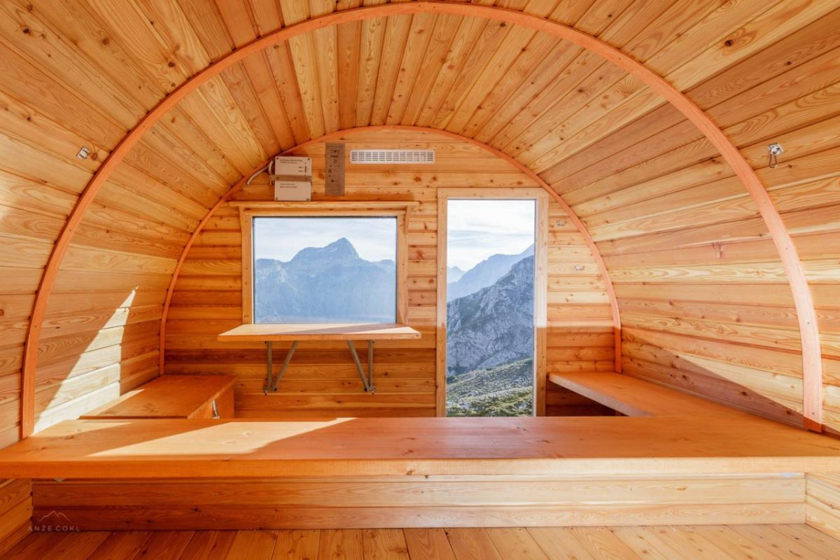 bell-shaped alpine hut, alpine hut in Slovenia, alpine hut in Julian Alps, Bivak II na Jezerih by AO, alpine architecture in Slovenia, bell-shaped architecture, Bivak II na Jezerih